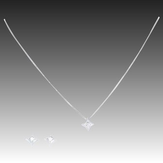 "Diamond Earrings & Necklace Set 18 1/4"" - 14k Gold Princess Cut Pierced .70ctw"