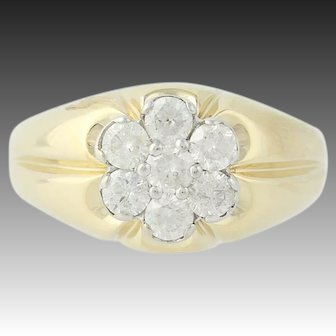 Men's Diamond Ring - 10k Yellow Gold Size 9 1/4 Round Brilliant Cut 1.00ctw