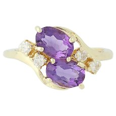 Amethyst & Diamond Bypass Ring - 14k Yellow Gold Oval Brilliant 1.74ctw