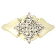 Diamond Cluster Ring - 10k Yellow Gold Women's Size 7 Single Cut .26ctw