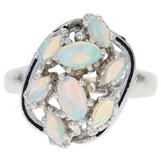 Opal Cluster Bypass Ring - 10k White Gold Black Enamel Cabochon .60ctw