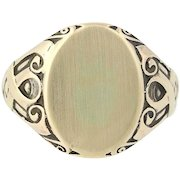 Engravable Vintage Oval Signet Ring - 9k Yellow Gold Men's Gift Size 8 3/4 - 9