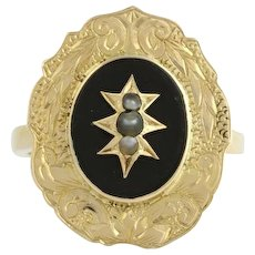 Victorian Genuine Onyx & Seed Pearl Cocktail Ring - 10k Yellow Gold Antique