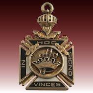 Genuine York Rite Garnet Vintage Masonic Fob - 10k Gold Masons 13.2g c.1920-30