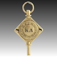 Kappa Alpha Society Vintage Members Key - 14k Solid Yellow Gold Fob Cornell 8.8g