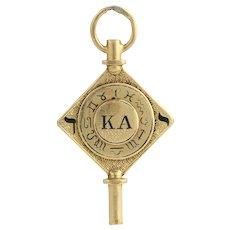 Kappa Alpha Society Vintage Members Key - 14k Solid Yellow Gold Fob Cornell 8.8g