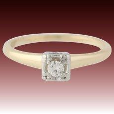 European Cut Diamond Engagement Ring - 14k Yellow & White Gold Genuine .09ctw