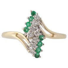 Emerald & Diamond Bypass Ring - 14k Yellow & White Gold April May Genuine .28ctw