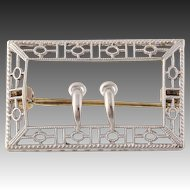 Edwardian Era Brooch - 14k Yellow Gold & Platinum circa 1900s - 1910s Fine Gift