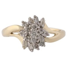 Diamond Bypass Cluster Ring - 14k Yellow & White Gold Cocktail Band 1/2ctw