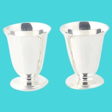 Set of 2 Tumblers Toothpick Holders Sterling Silver 4110 Shreve Crump Low Kirk