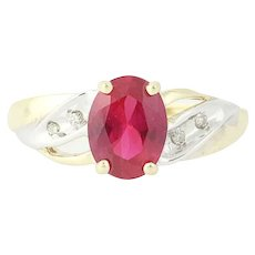 Syn Ruby Ring - 10k Yellow Gold Diamonds Oval Solitaire 1.49ctw