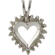 Heart Shaped Diamond Pendant - 10k White Gold Women's Fine Estate Love Charm
