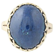 Azurite Chunky Blue Stone Ring - 10k Yellow Gold Oval Statement