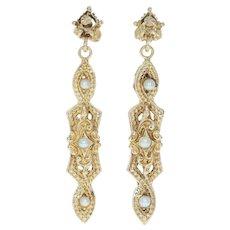 Vintage Cultured Pearl Earrings - 14k Yellow Gold Drop Style Pierced