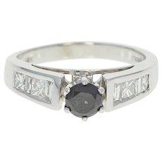 Black & White Diamond Engagement Ring - 14k White Gold Round Cut 1.14ctw