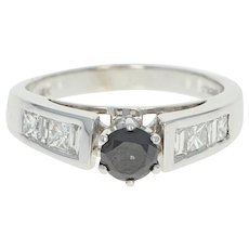 Black & White Diamond Engagement Ring - 14k White Gold Round Cut 1.14ctw