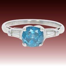 Fancy Blue & White Diamond Engagement Ring - Platinum Cushion Cut 1.45ctw