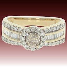 Diamond Halo Ring - 10k Yellow Gold Size 6 1/2 Round Brilliant .97ctw