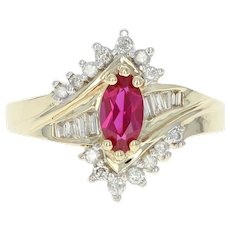 Synthetic Ruby & Diamond Bypass Ring -10k Yellow Gold Marquise Brilliant 1.04ctw