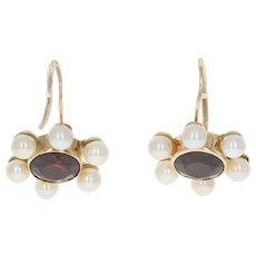 Garnet & Cultured Pearl Drop Earrings - 14k Yellow Gold Pierced 5.00ctw