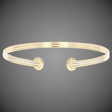 "Ribbed Oval Cuff Bracelet 6 3/4"" - 18k Yellow, White, & Rose Gold"