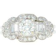 Art Deco Diamond Ring - Platinum 6 1/4 Vintage European Cut 1.45ctw