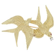 Flying Swallows Brooch - 18k Yellow Gold Diamond & Ruby Accents Bird Pin