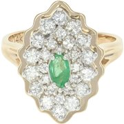 Emerald & Diamond Halo Ring - 14k Yellow Gold Size 4 Women's .84ctw