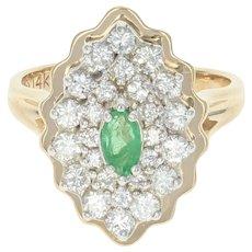 Emerald & Diamond Halo Ring - 14k Yellow Gold Size 4 Women's .84ctw