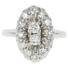 Vintage Diamond Halo Ring - 14k White Gold Size 4 1/2 Round Brilliant .48ctw