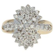 Diamond Cluster Ring - 14k Yellow Gold Size 5 1/4 Round Brilliant .75ctw