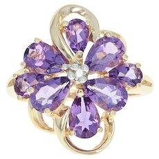 Amethyst Flower Ring - 14k Yellow Gold Diamond Accent Pear Brilliant 2.11ctw