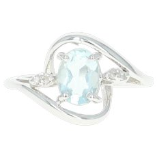 Aquamarine & Diamond Bypass Ring - 14k White Gold Oval Brilliant Cut 1.02ctw