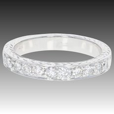 Diamond Wedding Band - 14k White Gold Etched Anniversary Ring Round Cut .50ctw