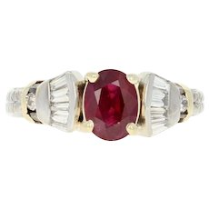 Ruby & Diamond Ring - 14k White Gold Size 5 Oval Brilliant 1.40ctw