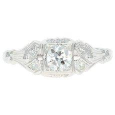 Art Deco Diamond Engagement Ring - Platinum Vintage European Cut .44ctw