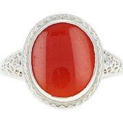 Art Deco Carnelian Ring - 14k Gold Vintage Floral Filigree Women's Size 6 3/4