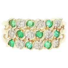 Emerald & Diamond Ring - 14k Yellow Gold Round Brilliant Cut .42ctw