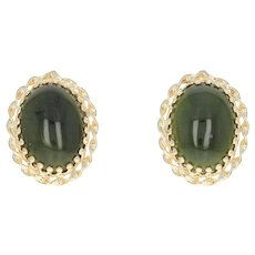 Nephrite Jade Stud Earrings - 14k Yellow Gold Screw-On Backs Non-Pierced