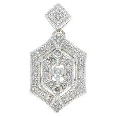 Diamond Pendant - 14k White Gold Milgrain Single Cut Women's Gift