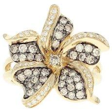 Diamond Flower Blossom Ring - 14k Yellow Gold Round Brilliant Cut 1.05ctw