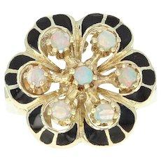 Vintage Floral Opal Ring - 14k Yellow Gold Cluster Black Enamel Size 5