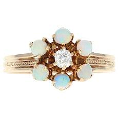 Edwardian Opal & Diamond Ring - 14k Gold Antique Flower Halo Mine Cut .57ctw