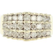Tiered Diamond Cluster Ring - 10k Yellow Gold Round Brilliant 1.23ctw