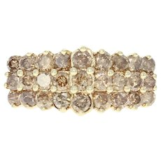 Diamond Cluster Ring - 10k Yellow Gold Tiered Round Brilliant 2.00ctw