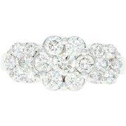 Diamond Cluster Ring - 14k White Gold Halo Round Cut 1.50ctw