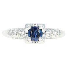 Vintage Sapphire & Diamond Engagement Ring - 14k White Gold Round Cut .50ctw
