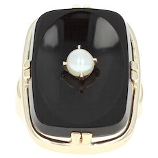 Vintage Onyx & Cultured Pearl Ring - 10k Yellow Gold Ring Size 5