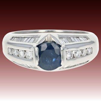 Sapphire & Diamond Ring - 950 Platinum Women's Size 7 Round Cut 1.91ctw